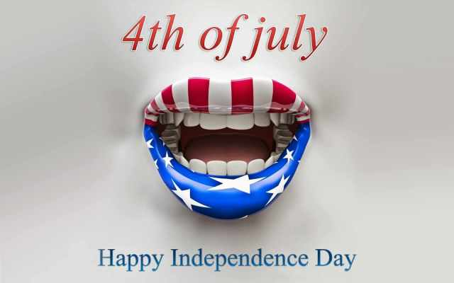 4th Of July Happy Independence Day Wishes Flag On Lips Wallpaper