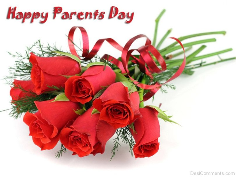 Beautiful Red Rose Happy Parents Day Wishes and Greetings Image