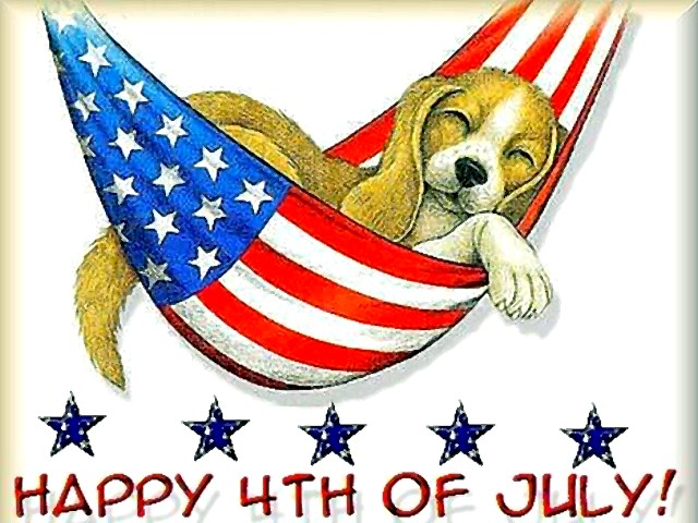 Cute Puppy Wishes Card On 4th Of July Wishes Card Image