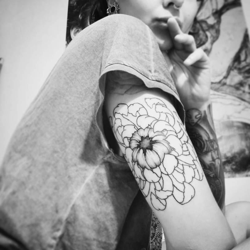 Trending Tattoo Innovative Black Outline Flower Tattoo On Upper Arm