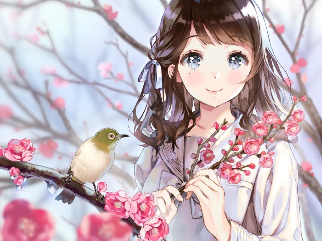Desktop Wallpaper Birds Cherry Blossom Anime Girl Cute Hd Image Picture Background 37c751