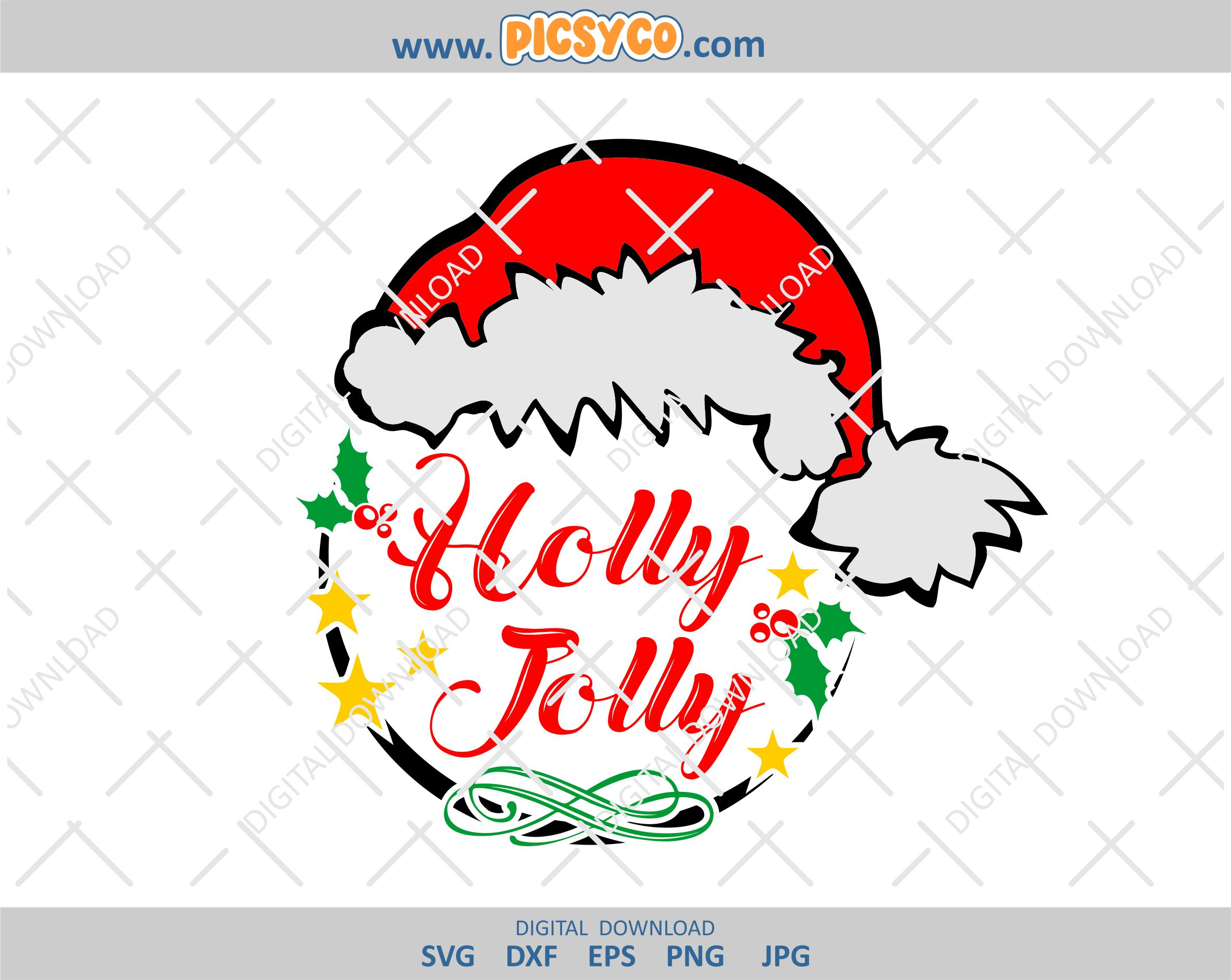 An ideal cut file for cards, invitation, scrapbooks and more this holiday season! Holly Jolly Svg Christmas Svg Design Christmas File Santa Hat Svg Christmas Cut File Svg File Png Cut File Picsyco