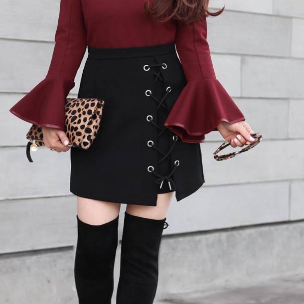 Skirt Thi Bel Tumblr Mini Skirt Black Skirt Lace Up Skirt Lace Up Bag Leopard Print