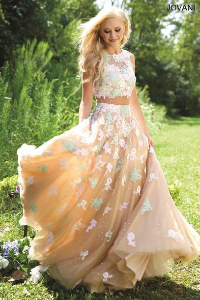 Dress Prom Jovani Floral Two Piece Prom Dress