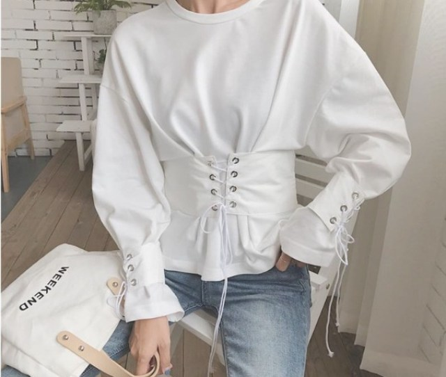 Blouse Tumblr Girly White White Top White T Shirt Long Sleeves White Blouse Lace Up
