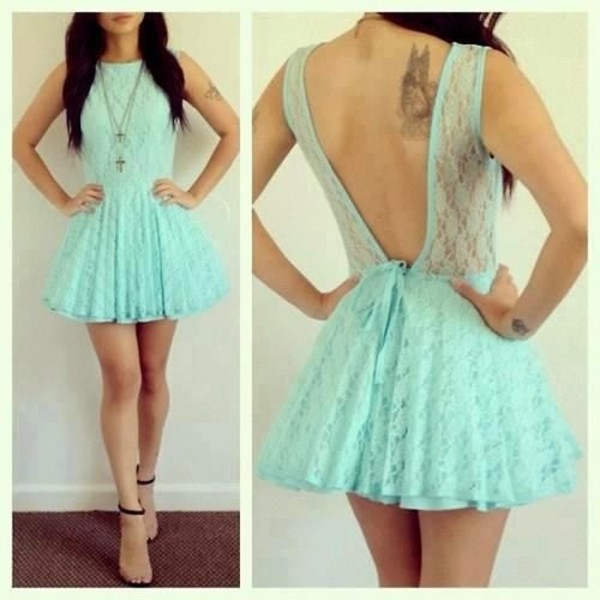 TealTurquoise Party Dress Mint Sleeveless Floral Lace