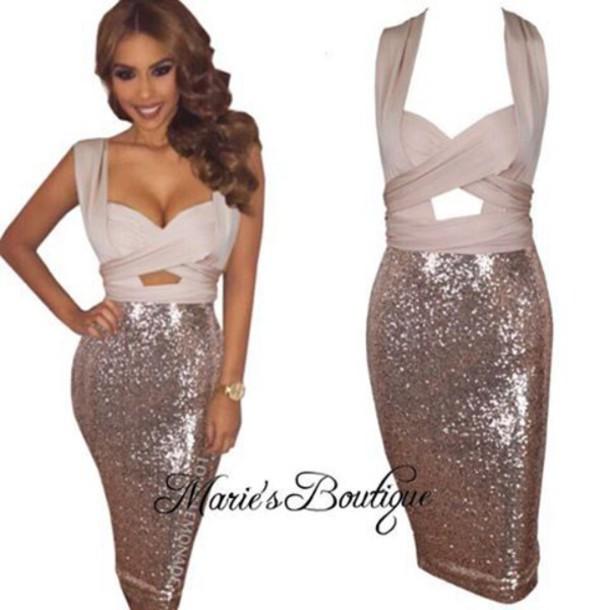 Dress Maries Boutique Glitter Dress Sequin Dress Gold