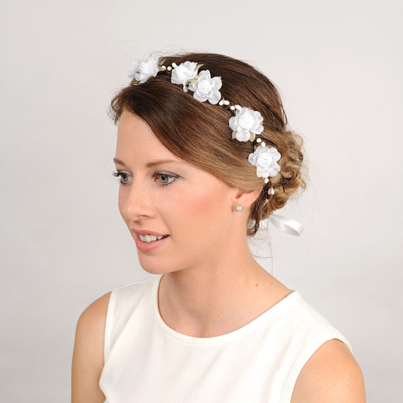 Wedding Flower Headband White Floral Crown Woodland