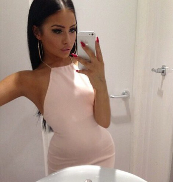 Image result for sexy red formal bodycon dress brunette halter top