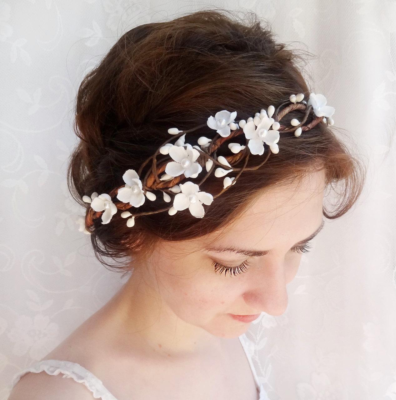 bridal hair accessories wedding flower headpiece white flower crown circlet whimsy rustic wedding flower crown
