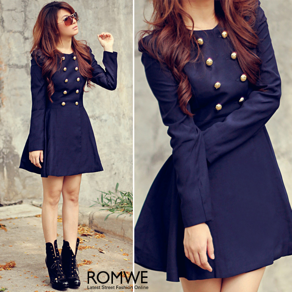 ROMWE   Double breasted Skirt Hem Design Blue Trench coat  The     ROMWE   Double breasted Skirt Hem Design Blue Trench coat  The Latest  Street Fashion