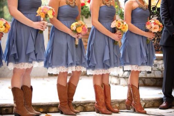 Dress: Denim Dress, Lace, Bridesmaid, Country Style