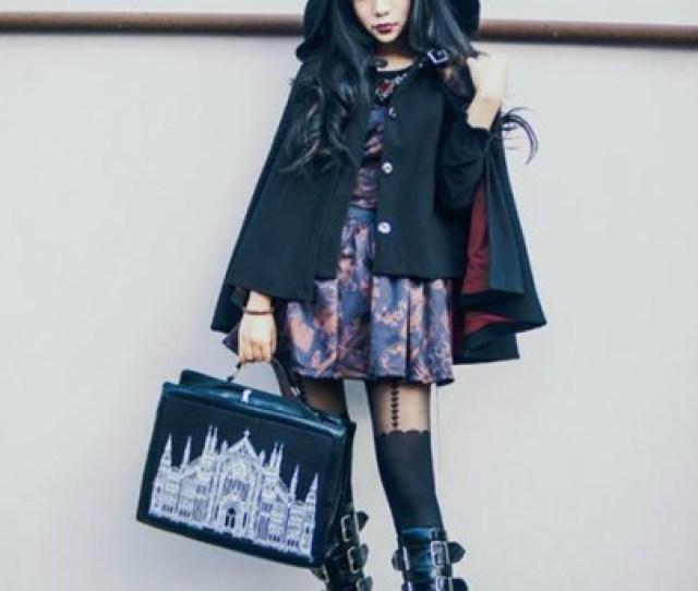 Coat Shoes Goth Gothic Lolita Gothic Dress Black Dress Black Platform Shoes Boots Demon Demonia Restyle