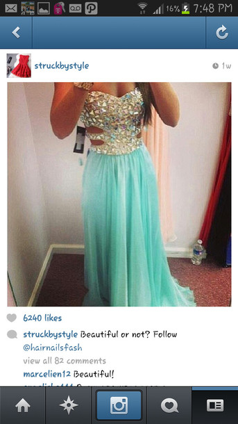 Dress Prom Dress Blue Dress Glamour Bling Turquoise