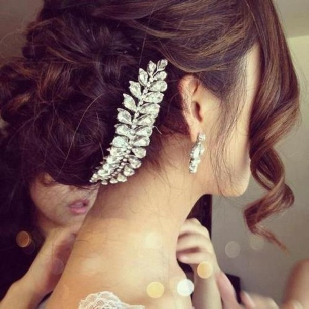 jewels hair bun wedding hair accessory wedding hairstyles hair adornments feathers jewelry silver crystal hairstyles