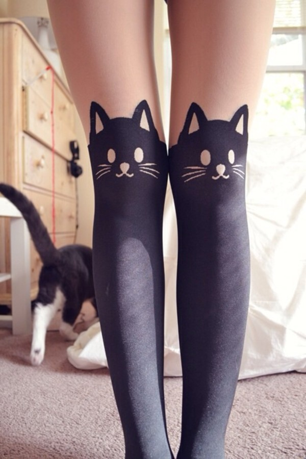 Japanese Kawaii Cat Tattoo Tights