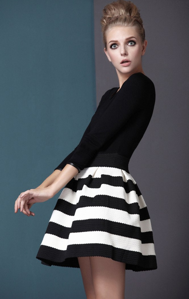 Striped Black And White Skirt - Skirts