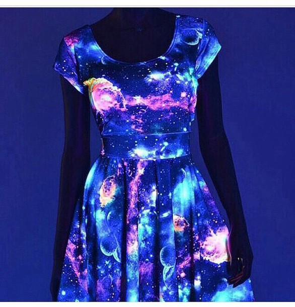 Dress galaxy dress glow in the dark fashion space