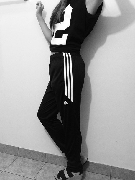 Pants Adidas Pants Shirt Black And White Black Wedges Tumblr Outfit