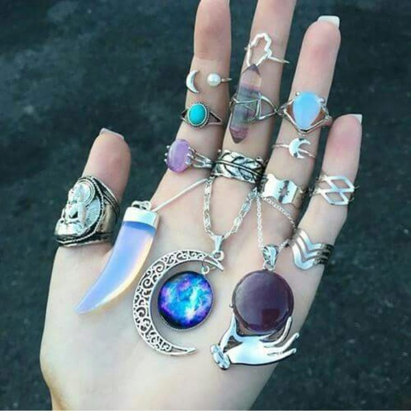 Galaxy Necklacenebula Necklacecrescent Moon Necklace