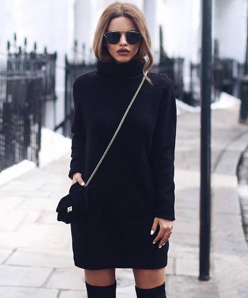 dress, tumblr, sweater dress, black dress, mini dress, bag ...