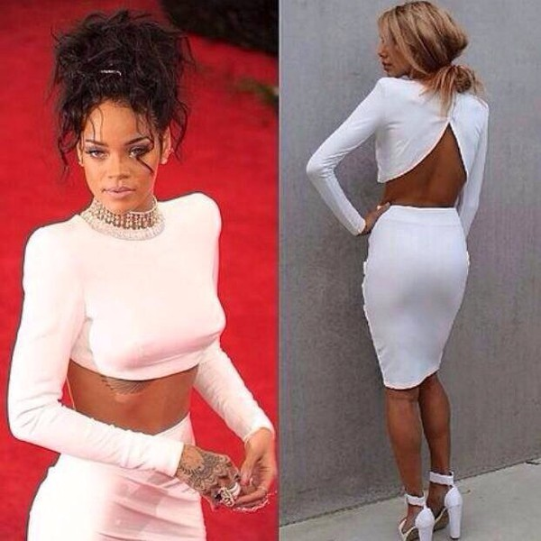 Rihanna White Prom Dress 2014 Met GalaNew Arrivals446