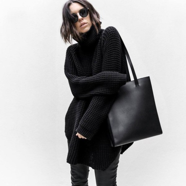 sweater, tumblr, black sweater, turtleneck, turtleneck ...