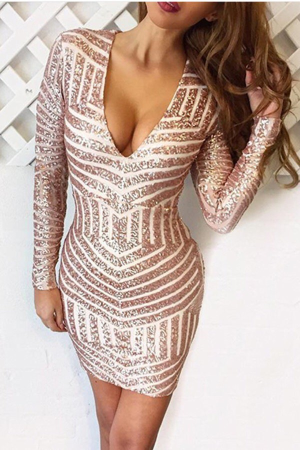 Dress Rose Gold Sequin Dress Bodycon Dress Wheretoget