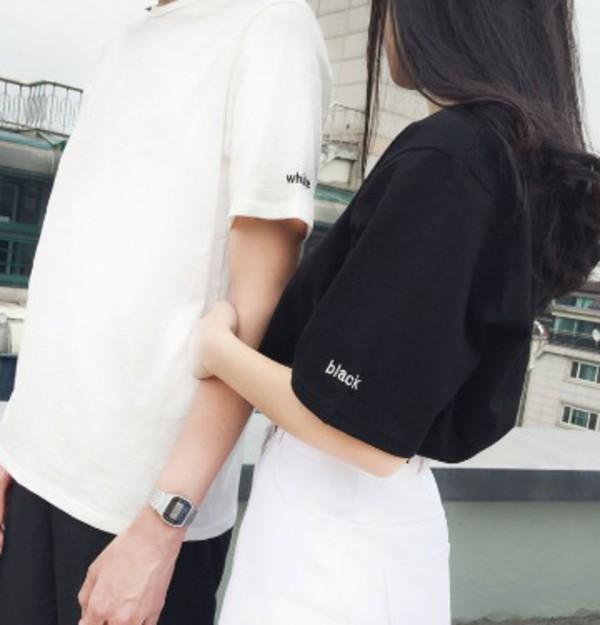 shirt, cute, hipster, aesthetic, black, white, tumblr ...