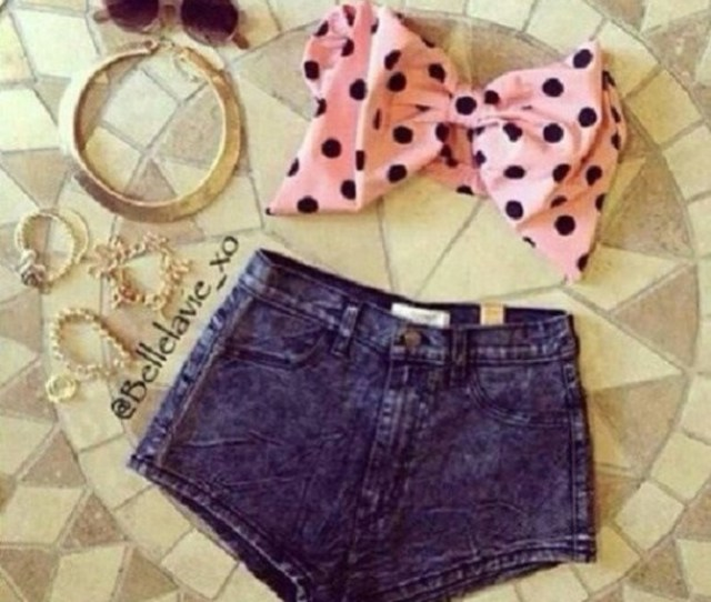 Top Bows Pink Girly Sunglasses Denim Shorts Fashion Cute Summer Outfits Beach Teenagers Kawaii Polka Dots