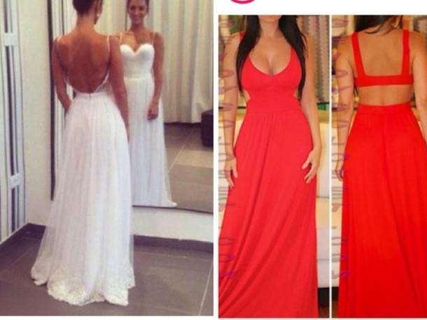Dress, White Dress, Red Dress, Cut Out Back, Prom Dress