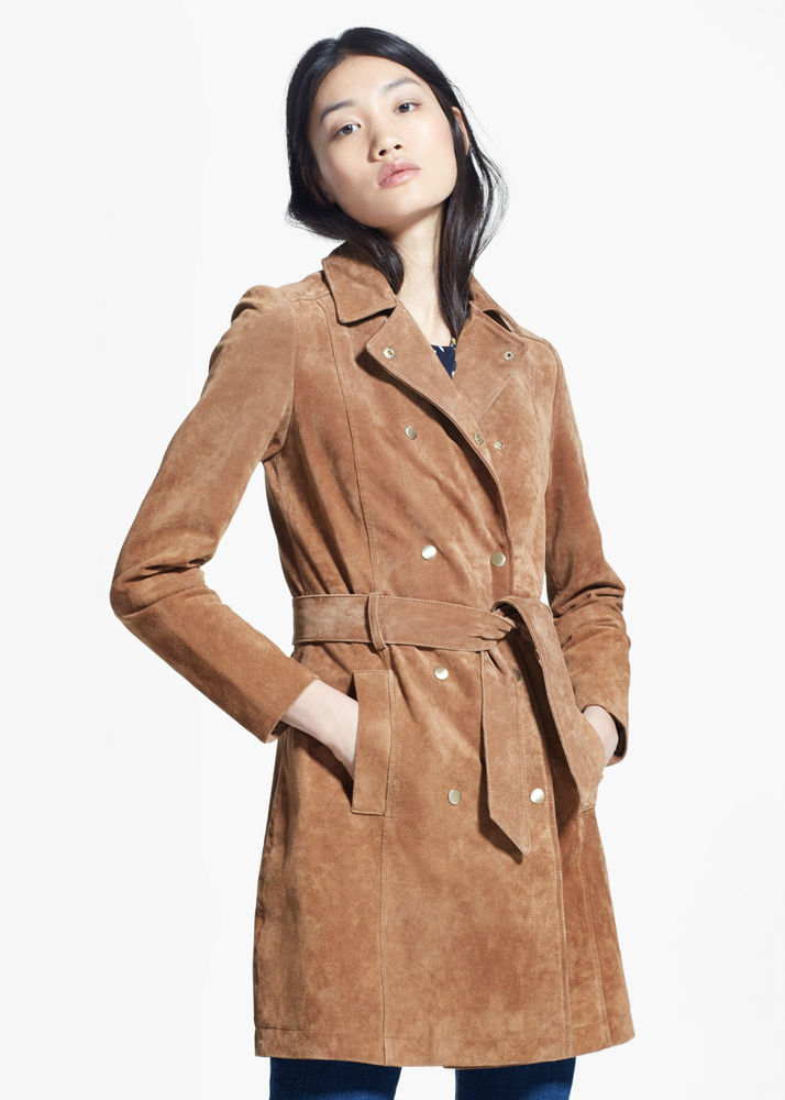MANGO BROWN SUEDE LEATHER SUEDE TRENCH COAT LEDERMANTEL 1499924999 In Store