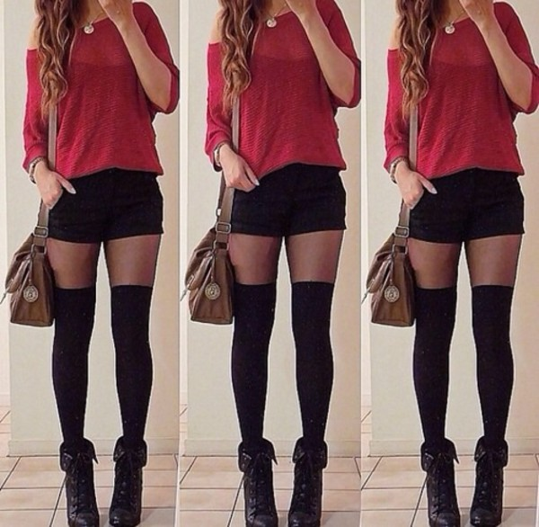 Shorts Black Red And Red Red Picture Shoes And And Socks Black Shirt
