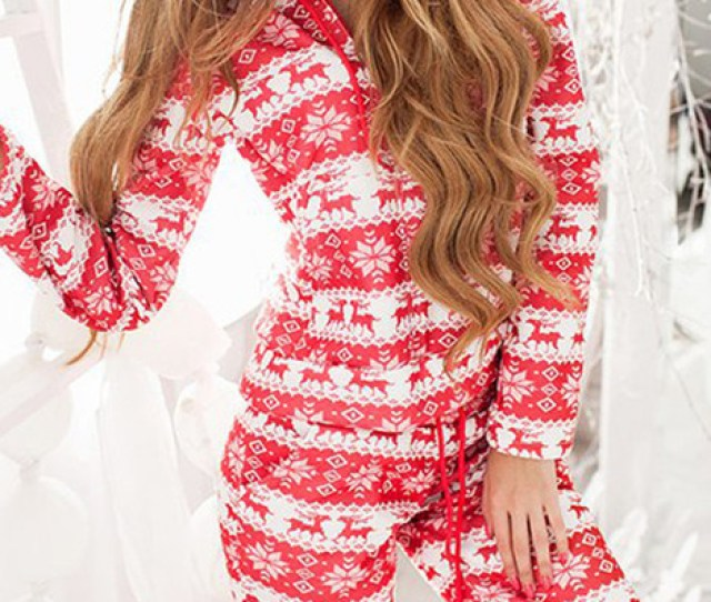 Holiday Season Pajamas Onesie Deer Christmas Sweater Red White Snowflake Red Sweater Sleepwear Christmas Christmas Sweater