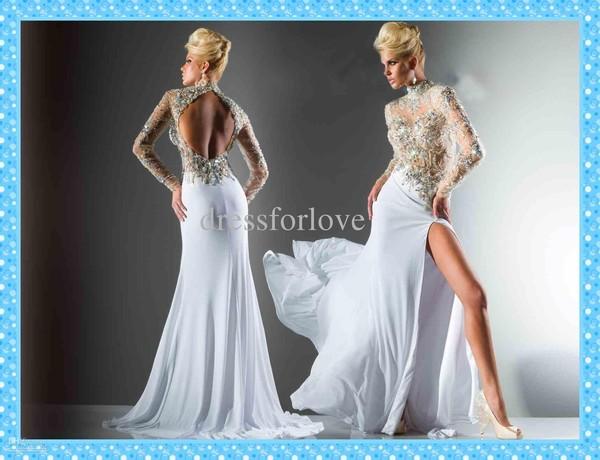 Dress, Long Prom Dress, White Dress, Open Back, See