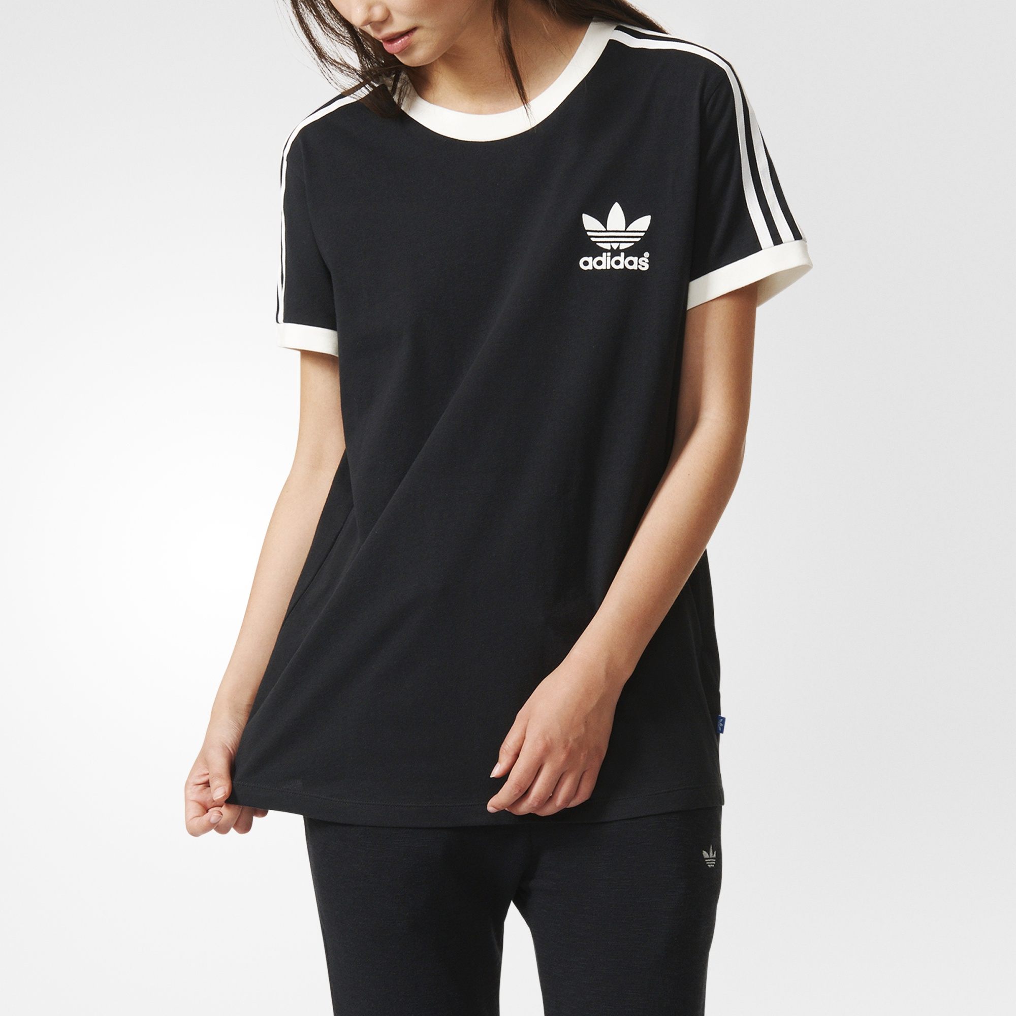 Adidas Womens 3 Stripes Tee Black Adidas Canada