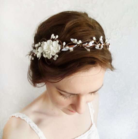 bridal hair accessories wedding hairpiece white flower circlet grace floral wedding headpiece flower crown simple bridal headband