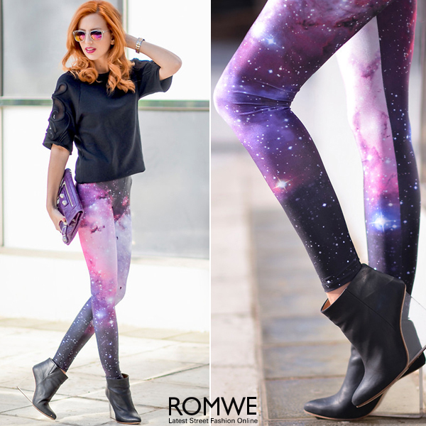 ROMWE   ROMWE Galaxy Print Purple Leggings  The Latest Street Fashion