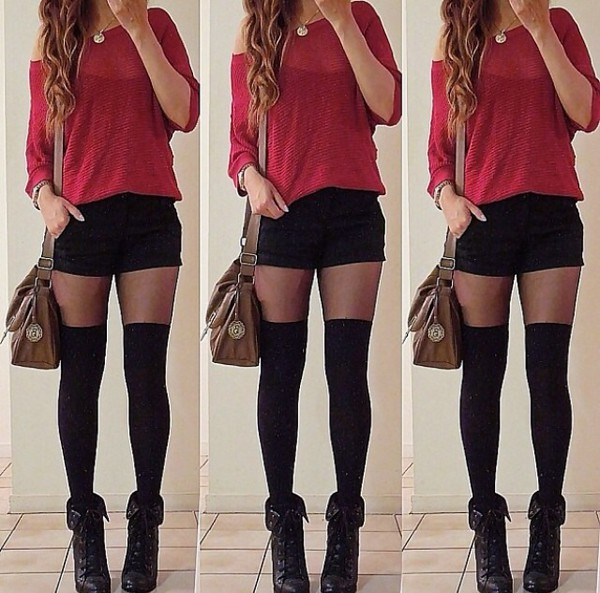Socks Shorts Picture Red Black And Black Shirt Red Red And Shoes And