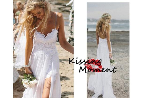 Lace Wedding Dress, Split Front Wedding Dresses, Sexy Prom