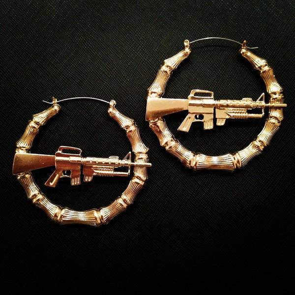 Urban City Ghetto Style Machine Gun Hollow Pincatch Hoop Bamboo Earrings HYER29 EBay