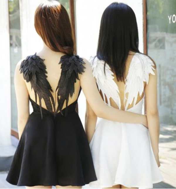 Dress Black Dress Boho Dress White Dress Wings Angel