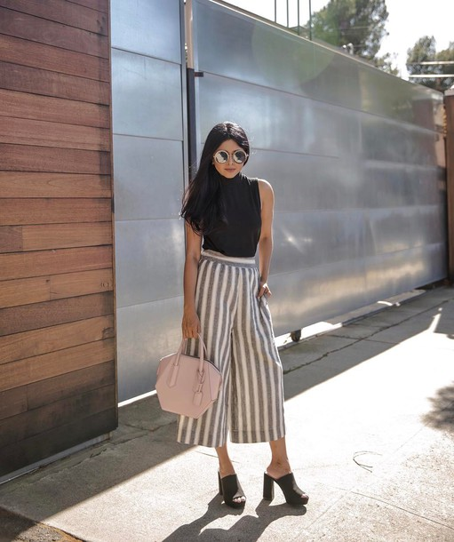 Pants Tumblr Cropped Pants Wide Leg Pants Stripes