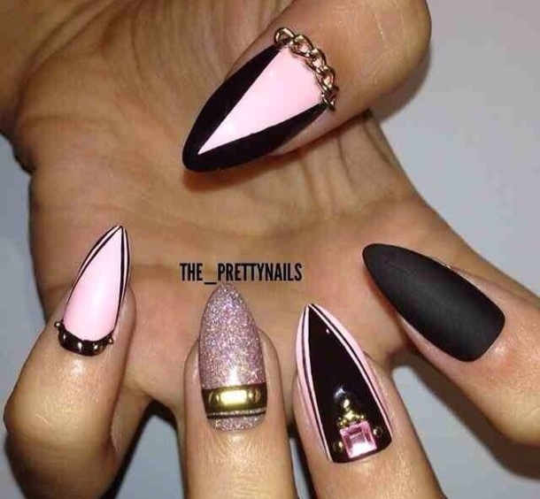 Pink And Black Matte Stiletto Nails
