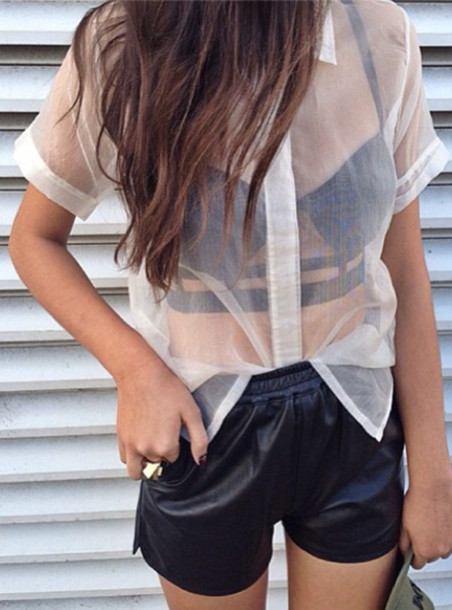 shirt shorts clothes bralette leather sheer leather shorts black white dress tank top blouse crop tops