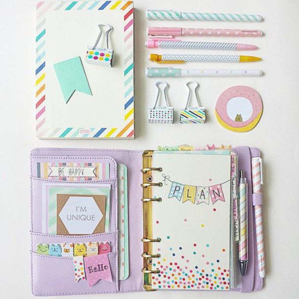 Plans Write Bag Organizer Notebook Girly Pastel