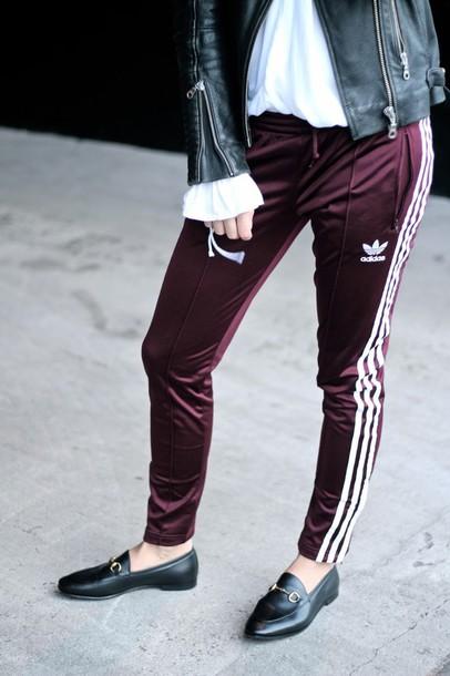 Pants Tumblr Burgundy Burgundy Pants Side Stripe Pants