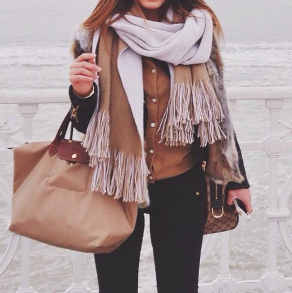 Bag Beige Brown Black Winter Outfits Scarf Skinny