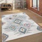 Teppich Wohnzimmer Geometrisches Ethno Muster Kurzflor Mehrfarbig Beige Grau Rot Kaufen Bei Diva Teppich Center