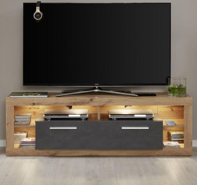 tv lowboard rock in matera anthrazit und wotan eiche tv unterteil 150 x 48 cm